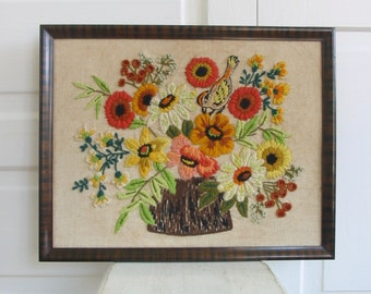 Vintage Embroidered Flowers, Vintage Crewelwork, Vintage Needlepoint, Bird Embroidery, Yellow Coral Flowers, Floral Embroidery