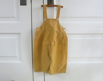 Vintage Child Overalls Boy Girl Tan Brown Corduroy Pants Clothes Unisex