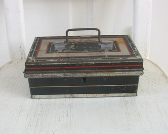 Vintage Metal Box Bank Small Black Industrial Storage Silver