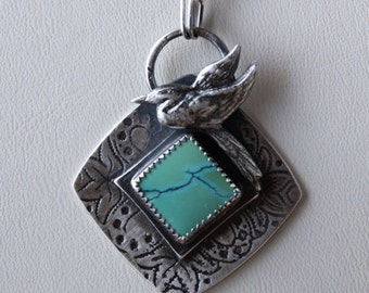 Great Blue Heron (nesting) Pendant.........sterling silver, turquoise pendant