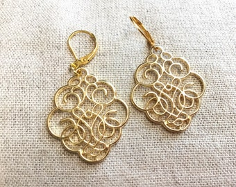 Gold filigree Earrings, bridesmaids earrings, fancy gold earrings, elegant earrings