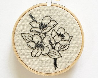 Charcoal Cherry Blossoms Sketch Embroidery Hoop Art