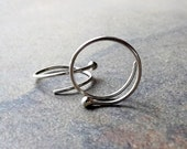 Silver Open Hoop Earrings Tiny Bud Coiled Hoops Dot Earring, recycled eco friendly jewelry choose your size gift idea