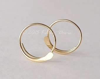 Solid Gold Open Hoop Earrings Hammered Simple 14k Gold Hoops, Choose Your Size, recycled eco friendly jewelry gift for her, womens