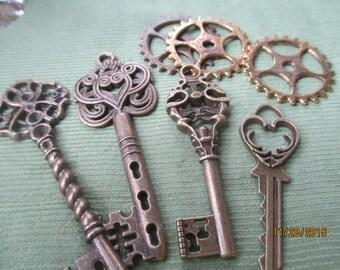 Bronze Keys and Gear Works  4 Keys  3 Gear Works  Steampunk  #K2532