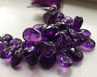 Deep Purple Amethyst Teardrop Gemstone Beads, Faceted, Grape, Beautiful, set of 5