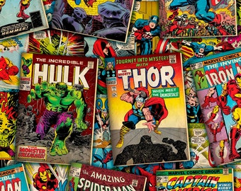 Marvel Comic Book Covers on Top Fabric Yard