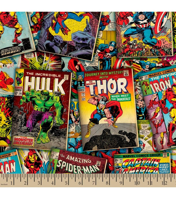Comic Book Cover Material : Marvel comic book covers on top fabric yard by