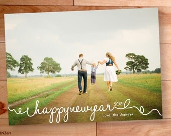 Happy New Years Card, New Years Photo, Script, Handwritten, Calligraphy, Custom cards, Modern Photo card, Printable, holiday photo cards