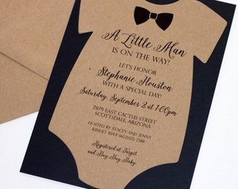 Baby Shower Onesie Invitation - Baby Boy Invitation - Bow tie Invitation - Little Man Shower Kraft Brown and Black - Quantity 25