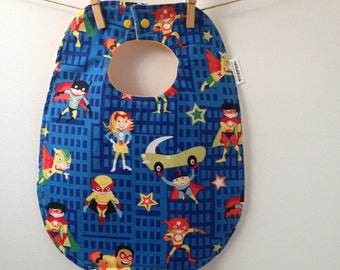 Superhero Baby Bib - Baby Shower Gift - Oversize Bib with Snaps
