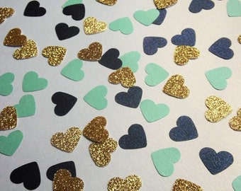 Gold Glitter Heart Confetti, Navy and Light Turquoise Shimmer Hearts, Table Scatter, Party Decoration, Bridal Shower Decor, 250 Pieces