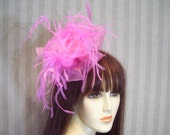 Kentucky Derby Fascinator, Pink Glamour, Mad Hatter Tea Party, Pink Filly Races, Belmont Stakes Hat, Fascinator