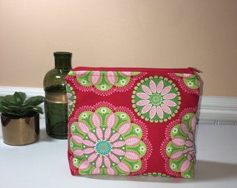 Large Zipper Pouch, Red Zipper Pouch, Cosmetic Bag, Makeup Bag, Travel Pouch, Project Pouch, Gift Idea, Funky Fabric Zipper Pouch