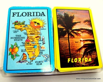 Vintage Deck of Playing Cards, 2 Sets, Florida, Card Game, Blue, Yellow, Map, Palm Trees, Ocean, Sunshine State Souvenir  (20-16)