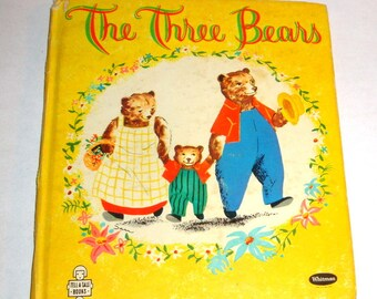 Vintage Children's Book, The Three Bears, Goldilock, Child's Tell a Tale Story, Mid Century Whitman Publication, Illustrated, 1960  (200-16)