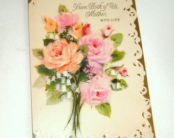 Vintage Birthday Card for Mother, Happy Birthday Greeting Card, Both of Us, Pink Rose, Hallmark, Paper Ephemera, Scrapbook, Crafts  (210-16)