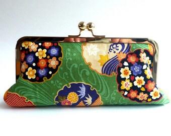 green wallet, green clutch, cosmetic bag, evening bag, Japanese fabric, makeup bag, travel pouch, purse insert, hostess gift, Asian bag