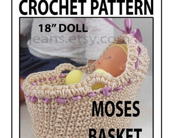 18 in Doll Moses Basket Crochet Pattern