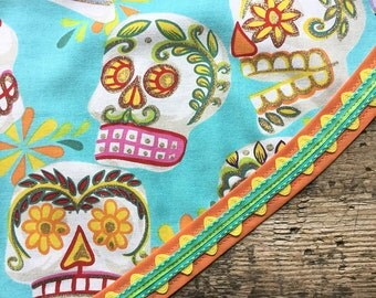 Day of the Dead Tablecloth Sparkling Mexican Sugar Skulls Turquoise Orange Yellow Trim