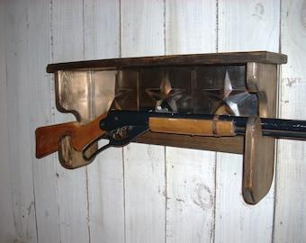 Red Ryder Gun Rack Wall Shelf Western Furniture