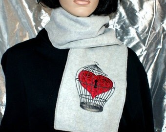 Heart Lock Birdcage Embroidered Grey Scarf MTCoffinz - Ready to Ship Sample Sale