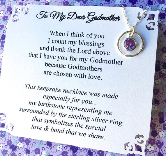Godmother Gift Birthstone Representing Godchild Poem Card