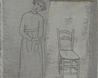 Girl and a Chair - Original Art by Elizabeth Bauman