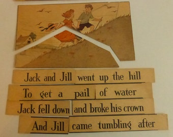 Antique Children's Puzzle Gibson's New Mother Goose Puzzle Cards Jack and Jill