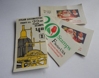 4 Vintage Postage Stamp Booklets - 1980's and 90's - Flowers - Trains - Christmas