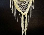 Crochet Lacy Fringe Shawl - Festival Clothing - Beach Cover Up - Hip Sarong - Boho Shawl - Summer Wrap - Cornsilk Yellow