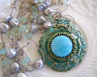 """Hand Knotted Silk Necklace-Statement Necklace-Art Nouveau Style Necklace-""""Tiffany"""""""