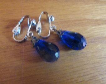 cobalt glass tear drop clips