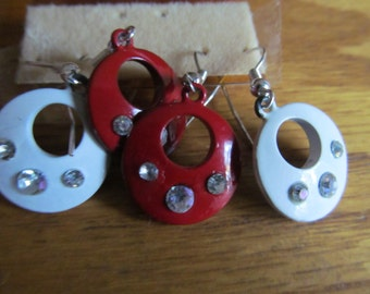 white and red dangle earrings