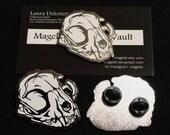 Limited Edition Hard Enamel Domestic Cat Skull Lapel Hat Pin Designed From Hand Drawn Art
