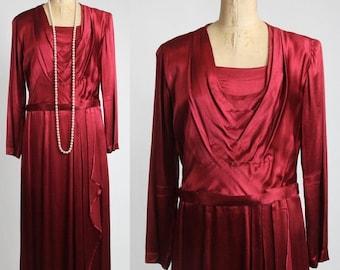 ON SALE Satin Maxi Gown . Vintage 1940s Cranberry Dress