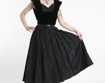 ON SALE Velvet and Taffeta Gown . Mid Century LBD Dress