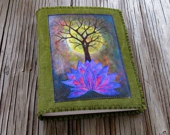 base of change journal -  purple lotus, tree, moon canvas print on waxed canvas cover journal