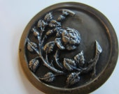 Vintage Buttons - 1 Collector molded brass metal extra large Victorian rose floral vine pictorial design  (jan 86b)
