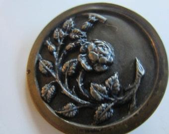 Vintage Buttons - 1 Collector molded brass metal extra large Victorian rose floral vine pictorial design  (jan 86b)