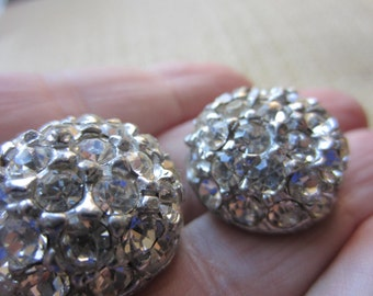 Vintage Buttons - 2 beautiful matching domed heavy weight rhinestone embellished, antique silver, estate sale buttons (lot feb 136b)