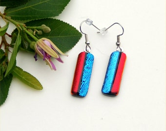 127 Fused dichroic glass earrings, red and blue