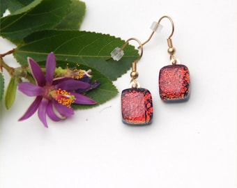 82 Fused glass dichroic earrings, dangles, square-ish, sparkly, earthy red, black back