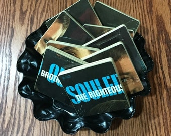 The Righteous Brothers recycled Souled Out album cover coasters and record bowl