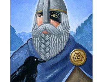 """The Norse God ODIN - Mythology illustration. 5""""x7"""" Print"""