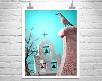 Surreal Art, Bird Photography, Teal Bird Art, Tucson, Arizona, Church Art, Southwest Art, San Xavier Mission, Art Photography, Bird Print