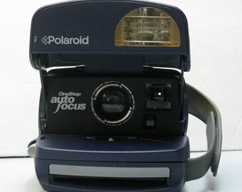 """Vintage Working Polaroid """"The Whale"""" Blue One Step Instant Camera for Impossible Project 600 Film"""