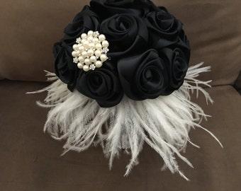 Feather Wedding bouquet/black bouquet/bridesmaid bouquet/brooch bouquet/bridal bouquet