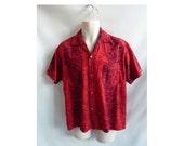 Vintage 60s Shirt Size L Red Hawaiian Cotton Tiki Luau Palms Grass Huts 50s