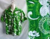 Vintage 60s Shirt Size L Lime Green Cotton Hawaiian Geo Flowers Tiki Luau 70s